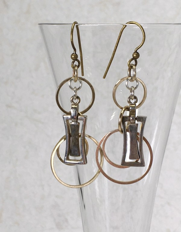 Mixed Metal Hoop and Charm Earrings by Luann Roberts Smith