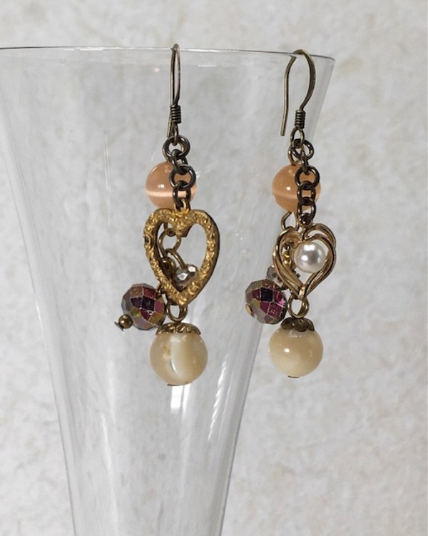 Pink Bead & Heart Cluster Earrings by Luann Roberts Smith