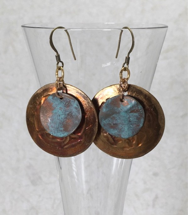 Copper/Gold/Verdigris Earrings by Luann Roberts Smith