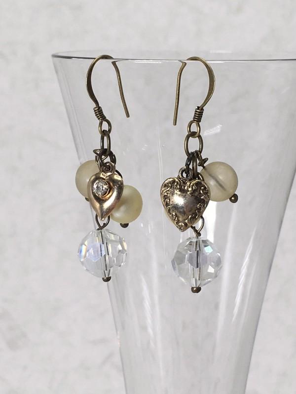 Gold Tone Heart Earrings by Luann Roberts Smith