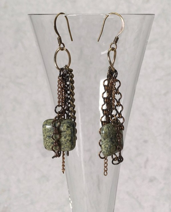 Green Stone Earrings by Luann Roberts Smith