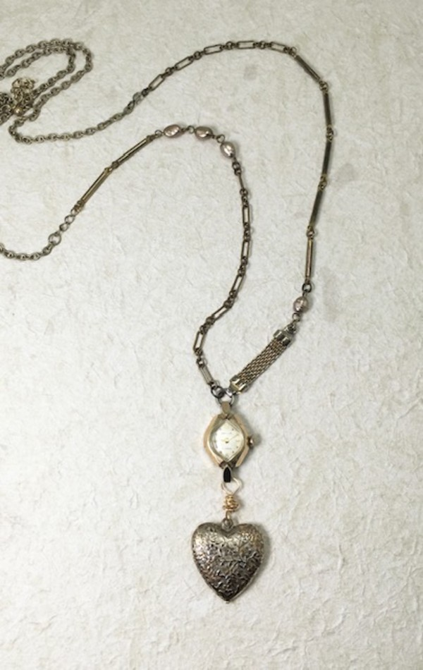 Heart & Timepiece Necklace by Luann Roberts Smith