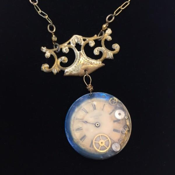 Blue Clockwork Necklace by Luann Roberts Smith