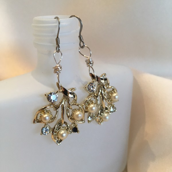 Pearl Leaf Earrings by Luann Roberts Smith