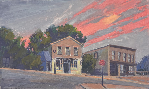 Downtown Mineral Point (Framed original) by Jan Norsetter
