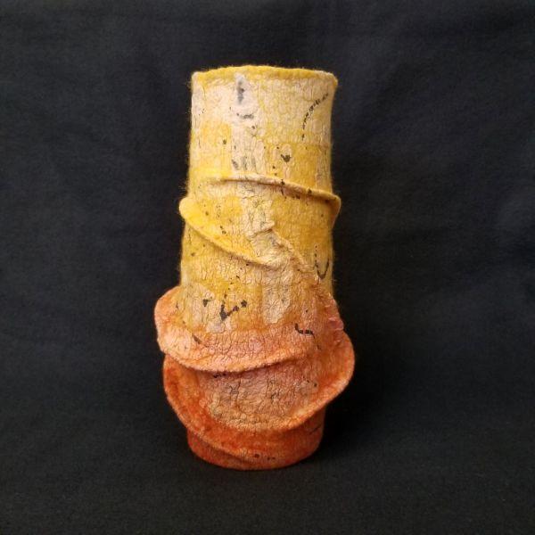 Terra Cotta & Golden Yellow Sculptural Vessel by Janis Merkle