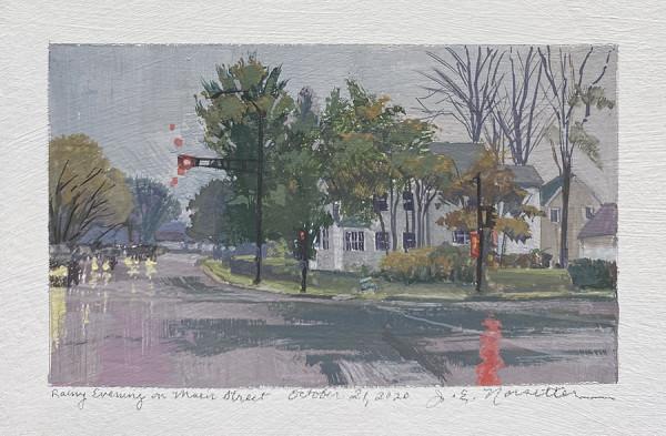 Rainy Evening on Main St (Framed original) by Jan Norsetter