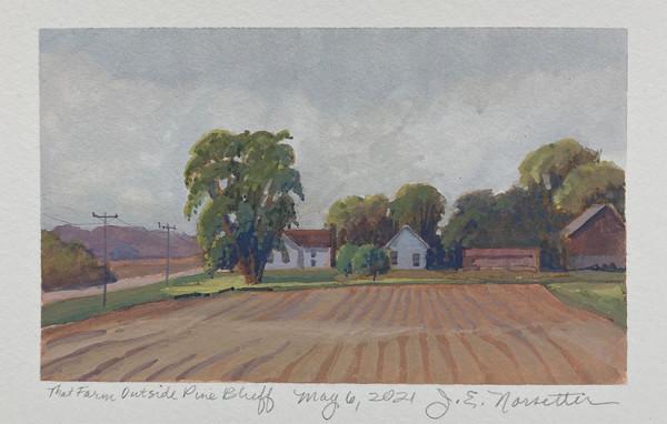 That Farm Outside Pine Bluff (Framed original) by Jan Norsetter