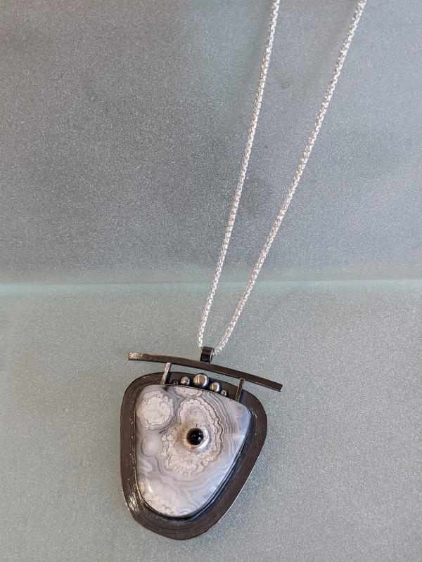 Black Onyx/Silver Bar Necklace by Susan Baez