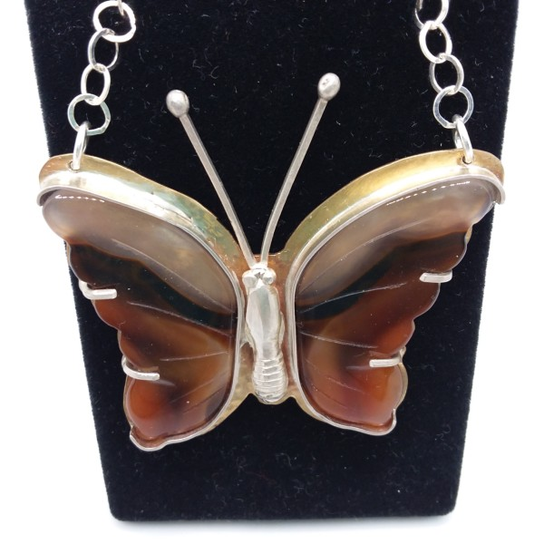 Agate Butterfly Necklace by Judi Werner