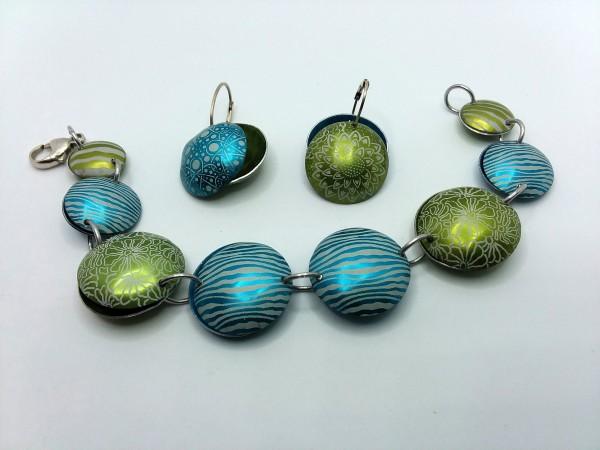 Blue/Green Aluminum Bracelet by Judi Werner