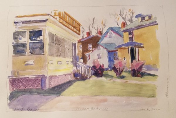 Madison Backyards (Framed original) by Chuck Bauer
