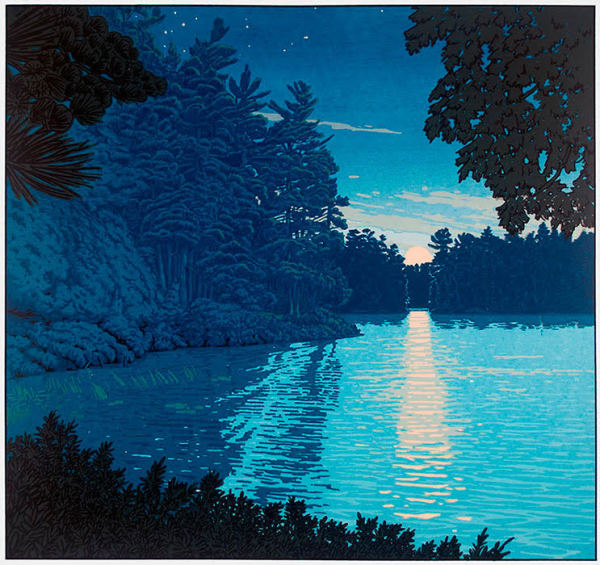 Moonrise on North Bay (Framed Screen Print) by John Miller
