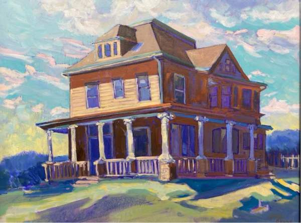 406 West Main Street, Mt. Horeb, WI (Framed original) by Chuck Bauer