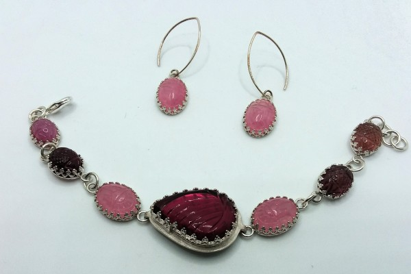 Pink Scarab Earrings by Judi Werner
