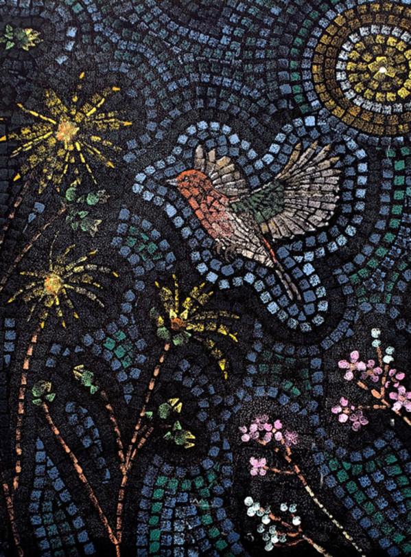 Starry Prairie Mural Print (Large Bird and Flowers)