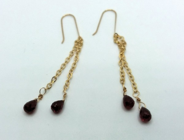 Red Dangle Earrings by Judi Werner