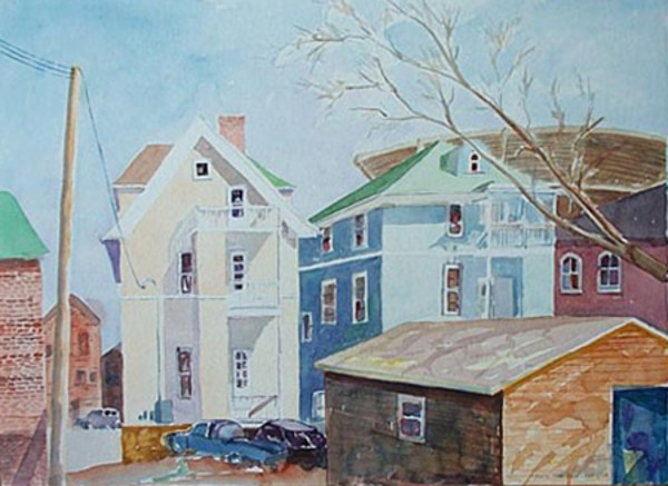 Sunny Back Alley in Madison (Framed original) by Chuck Bauer