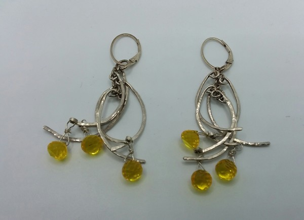 Half Circle Earrings, Yellow Sapphire by Judi Werner