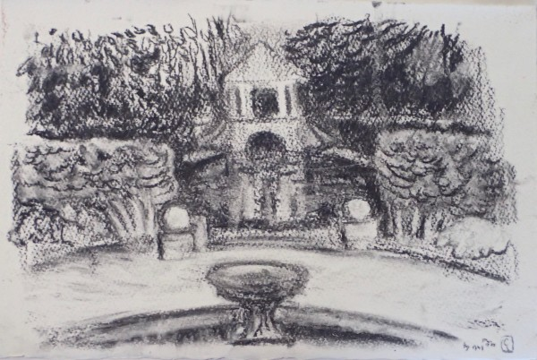 Boathouse, Russell Gardens, from Kearsney Court #1 by CLARE SMITH