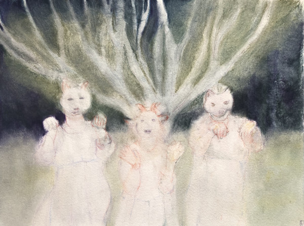 stories from the park: Masked figures by CLARE SMITH