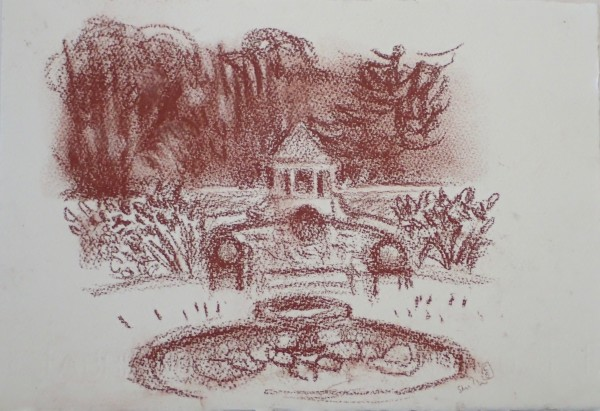 Boathouse, Russell Gardens, from Kearsney Court #2 by CLARE SMITH