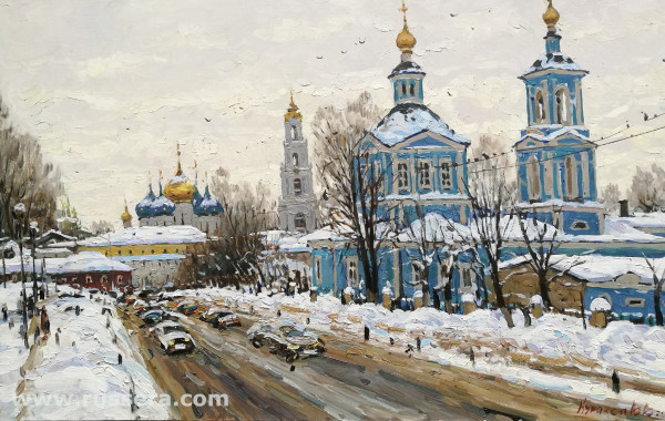 A Street in Sergiev-Posad by Vasily Kuraxa