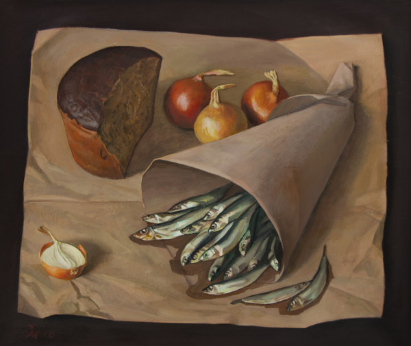 Bread and Sprats by Mikhail Salmov