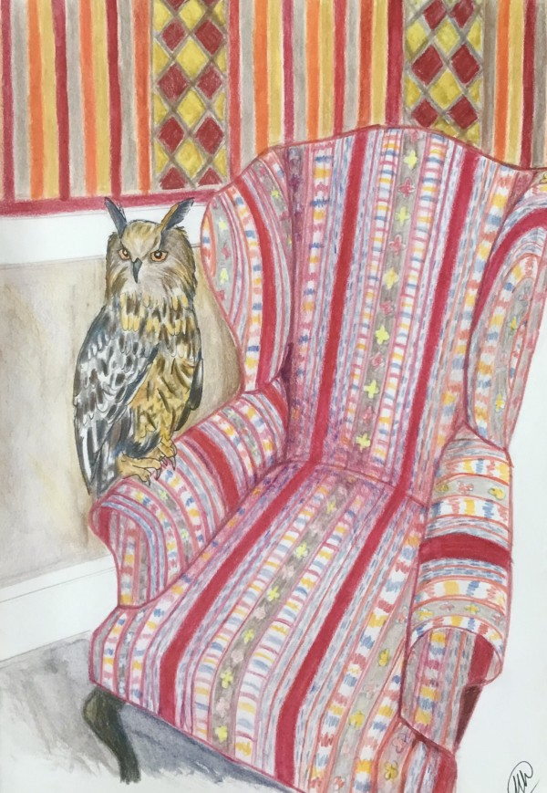 Owl on armchair by Marina Marinopoulos