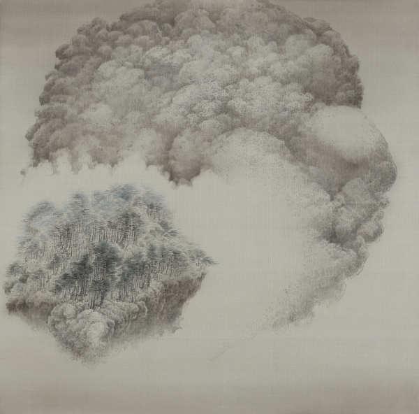 巨巖松風 Breeze through Pines on Giant Rock by 白雨 Bai Yu