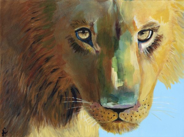 Look me in the eye - lion by Leslie Cline