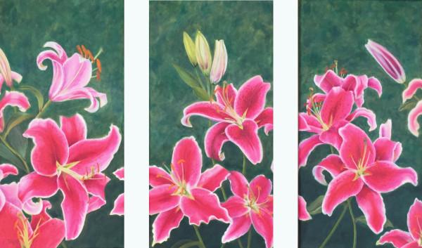 Stargazer Lilies Triptych by Barbara Teusink
