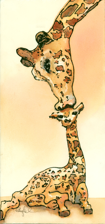Giraffe Kiss by Rebecca Zdybel