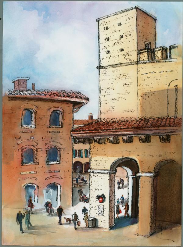 San Gimignano Square by Rebecca Zdybel
