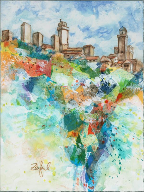 San Gimignano ~ Mixed Media 1 by Rebecca Zdybel