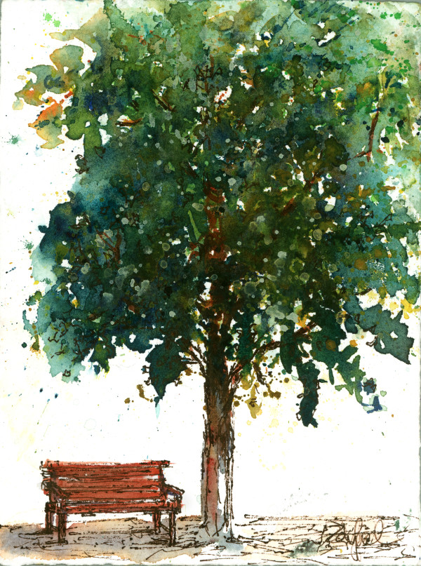 Tree with Bench by Rebecca Zdybel
