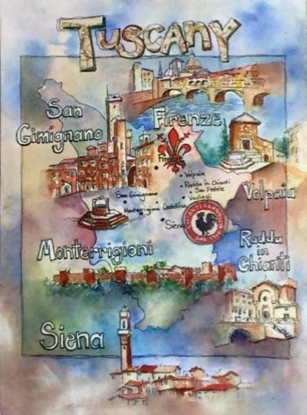 Tuscany Map with Symbols by Rebecca Zdybel