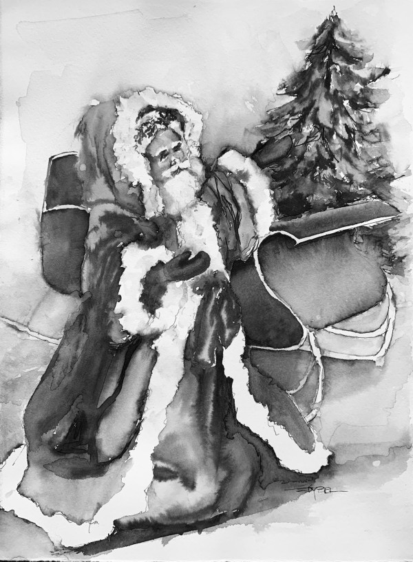 Vintage Santa with Sleigh by Rebecca Zdybel