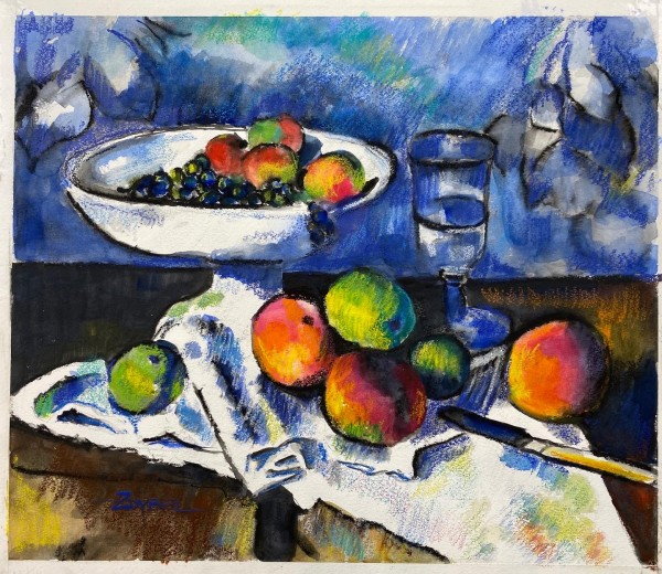 Still Life with Fruit Dish after Cezanne by Rebecca Zdybel