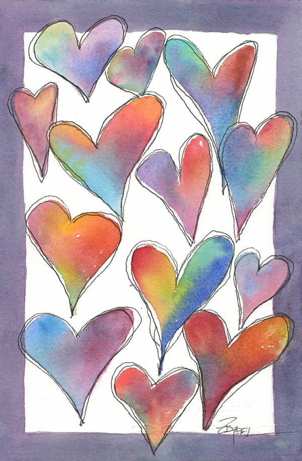 Hearts with Violet Border by Rebecca Zdybel