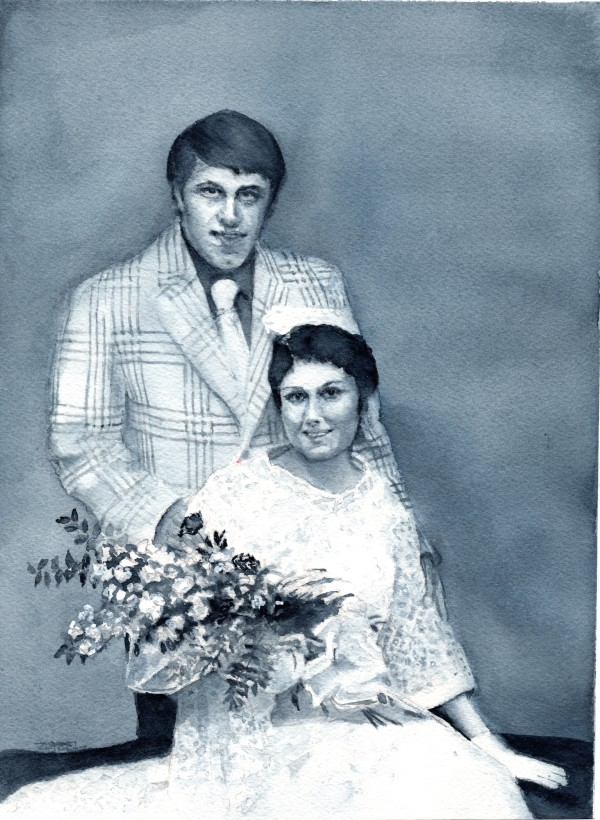 Holly Martel Turner Wedding Portrait Commission by Rebecca Zdybel