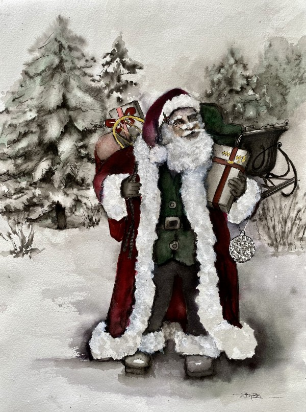 Vintage Santa with Gifts and Sleigh by Rebecca Zdybel