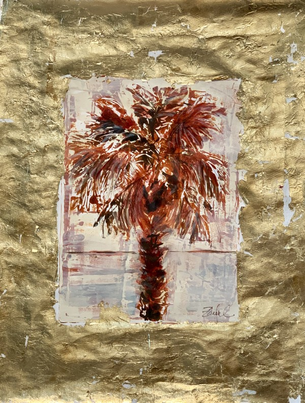 Sultry Palm with Gold Leaf by Rebecca Zdybel