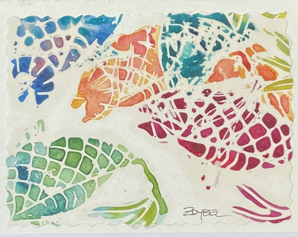 Multicolored Fish Batik on White Mat by Rebecca Zdybel