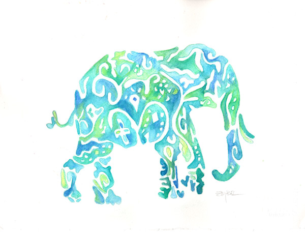 Playful Pachyderm in Blue & Green by Rebecca Zdybel