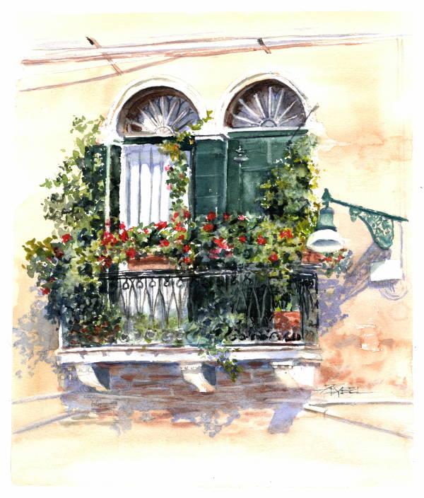 Venetian Balcony - Escape To Venice by Rebecca Zdybel
