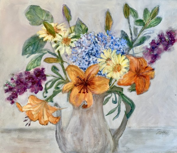 Bouquet on Gray by Rebecca Zdybel