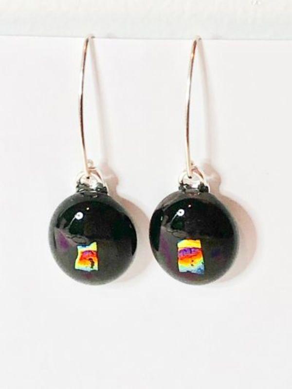 Earrings Black with rainbow dichroic