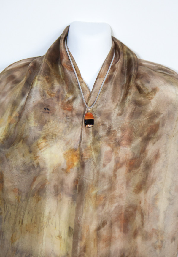 Eco Dyed Silk Scarf  Wandoo Bark  with Highlights