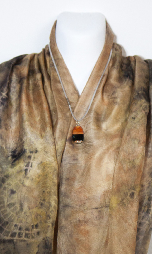 Eco Dyed Silk Scarf  ( Wandoo Bark -Iron Print)